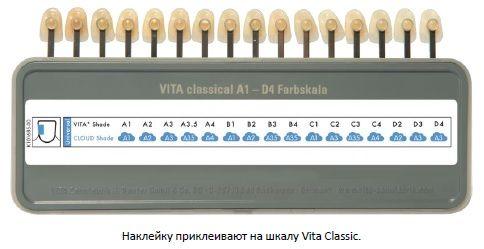 Наклейку приклеивают на шкалу Vita Classic